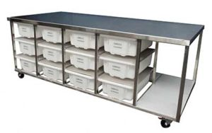 Stainless Steel Bench On Castors - Style E