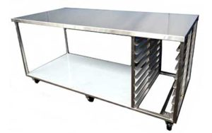 Stainless Steel Bench On Castors - Style C