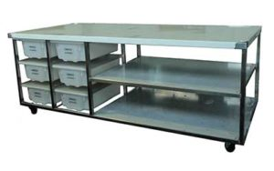 Stainless Steel Bench On Castors - Style BE