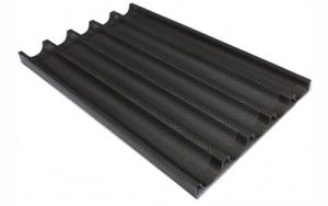 French Stick Tray Perforated 5 Impressions, 16 Inch Teflon Coated - PA5-16-TC