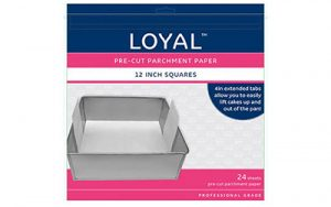 Square Parchment Paper Pre-Cut With Tabs - 300mm / 12 Inch